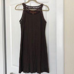 Brown Sleeveless Dress with neckline detailing